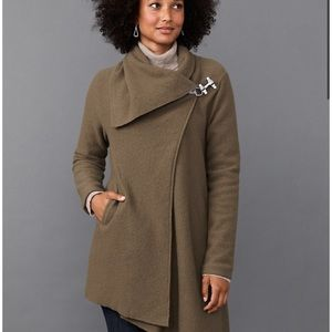 Garnet Hill Boiled Wool Asymmetrical Wrap Coat